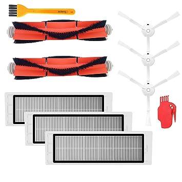 Kit de accesorios para XIAOMI MI Robot piezas de repuesto de vacío 3 PCS cepillo lateral 3 piezas HEPA filtro de 2 piezas cepillo principal 1pcs ...