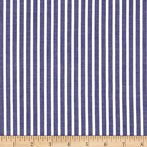 (Fabric.COM Cotton Lawn Stripe Navy Fabric by The Yard,)