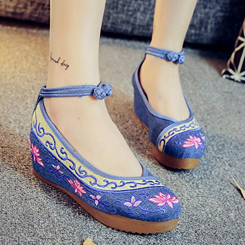 ocasional femeninos bordados manera LTQ tend¨®n ¨¦tnico lenguado blue denim c¨®modo new zapatos Zapatos amp;QING 37 lino del blue aumentados denim estilo xxtwPOZqfW