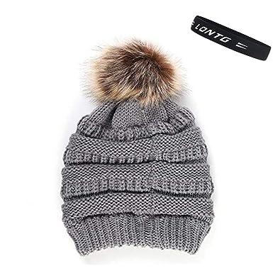 1ee541ca6fde LONTG Bonnet en Tricot à Pompon Femme Fille Chapeau Hiver en Fausse Fourrure  Chapeau de Ski