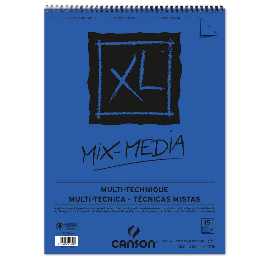 'Canson Spiral Blocks Mix Media carta da disegno, 300G/MQ, 15fogli per bloccospirale sul lato corto, Bianco 14.8 x 21.9 cm bianco 200001872