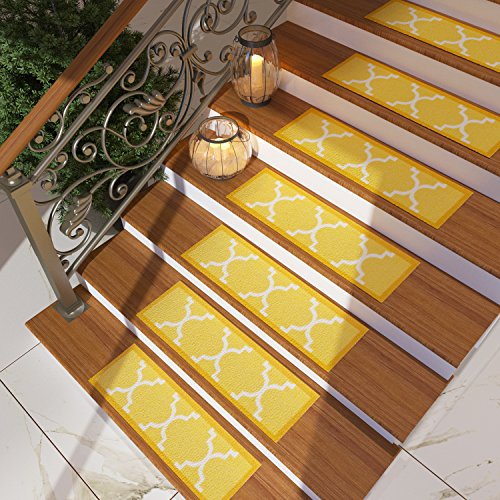 [Set of 7] Gold Yellow Stair Tread Rugs | Modern Design Trellis Lattice Carpet Pads [Easy to Clean] Rubber Non-slip Non-skid Backing | Nylon Low Pile 9