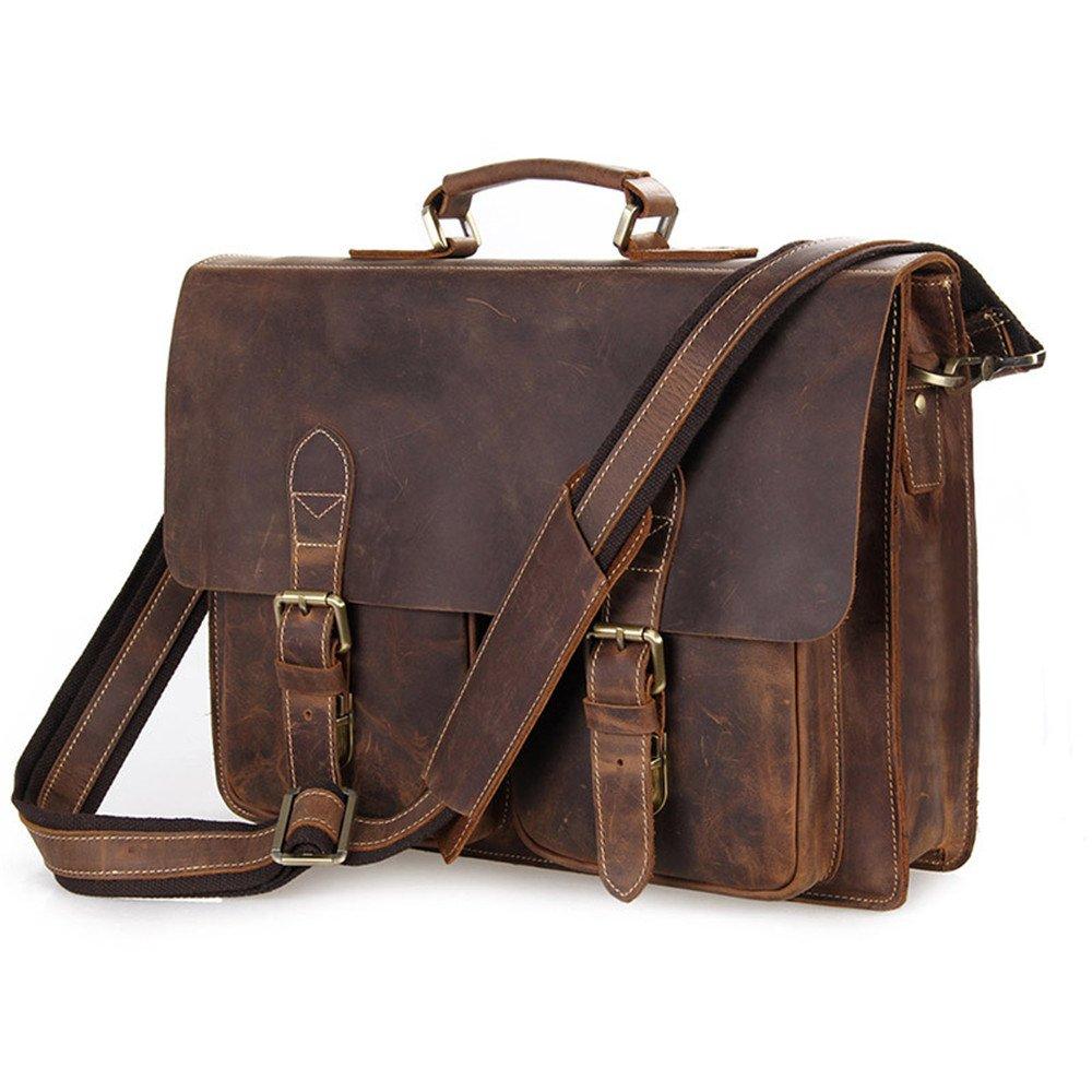 ファッションバッグ シンプルでスタイリッシュなメンズフルグレインレザーラップトップブリーフケースビジネスメッセンジャーバッグサッチェル (色 : Light Brown) B07N4FH3HK