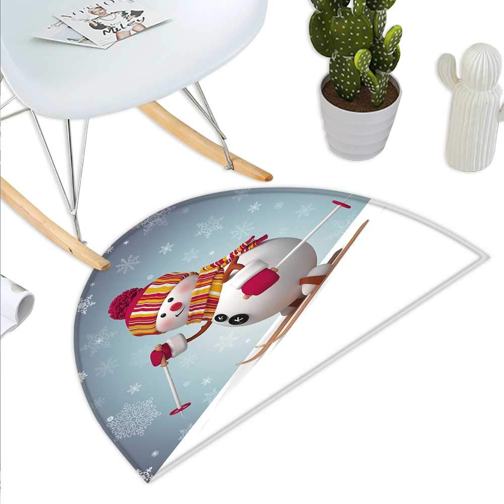 color06 H 15.7  xD 23.6  Snowman Semicircle Doormat Smiling 3D Style Mascot with Hat and Scarf Snowy Mountains Trees Seasonal Happy Halfmoon doormats H 27.5  xD 41.3  Multicolor