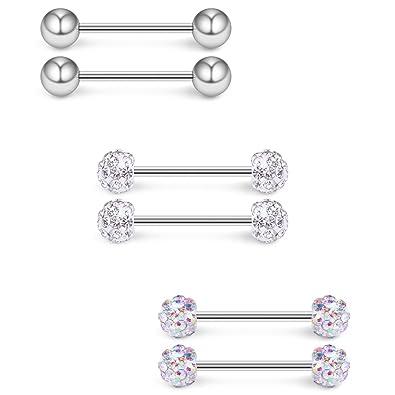 0bdc6674da0442 Ruifan 16G 9/16Inch AB Colorful & Clear Crystal Ball Nipple Tongue Shield  Ring &