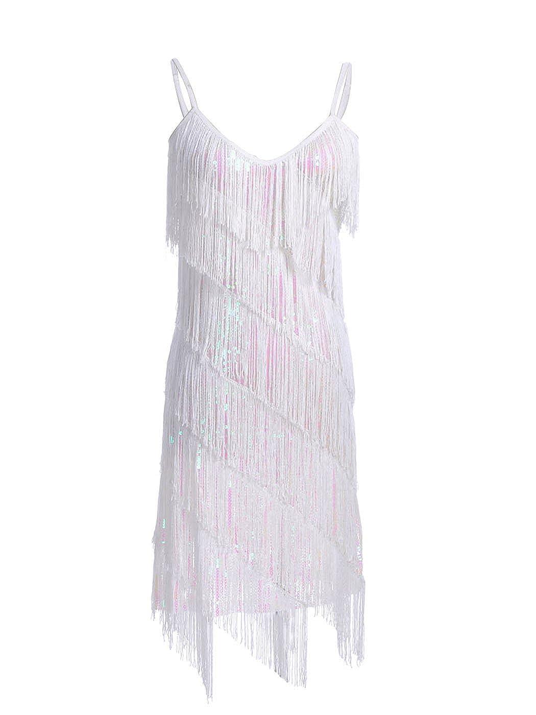 White AnnaKaci Womens Fringe Sequin Strap Backless 1920s Flapper Party Mini Dress