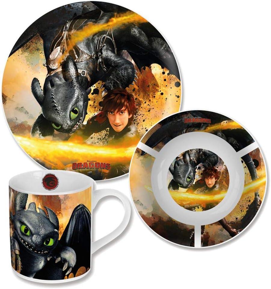 Ciotola e Tazza Set da Colazione in Porcellana Piatto Dragons Sdentato