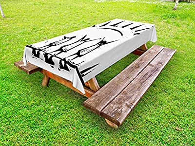 Lunarable Abstract Outdoor Tablecloth, People Spreading Their Arms Trying to Reach the Sun Grunge Woodcut Design, Decorative Washable Picnic Table Cloth, 58 X 84 Inches, Black and White