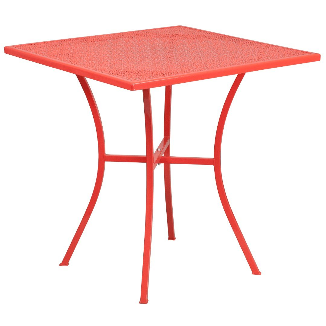 MFO 28'' Square Coral Indoor-Outdoor Steel Patio Table by My Friendly Office