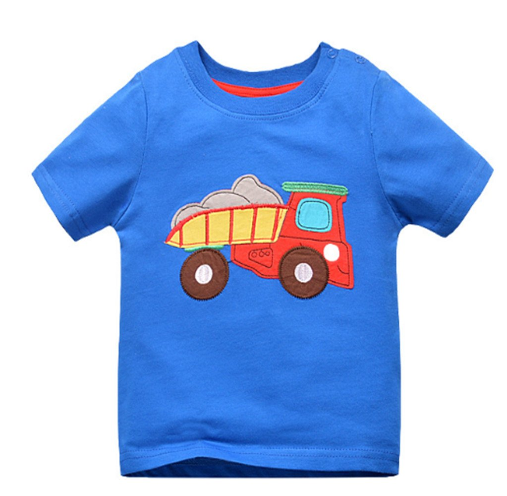 Kids Cars Crabs and Elephants Pattern Summer Boy Short Sleeves T-Shirt 1T-6T