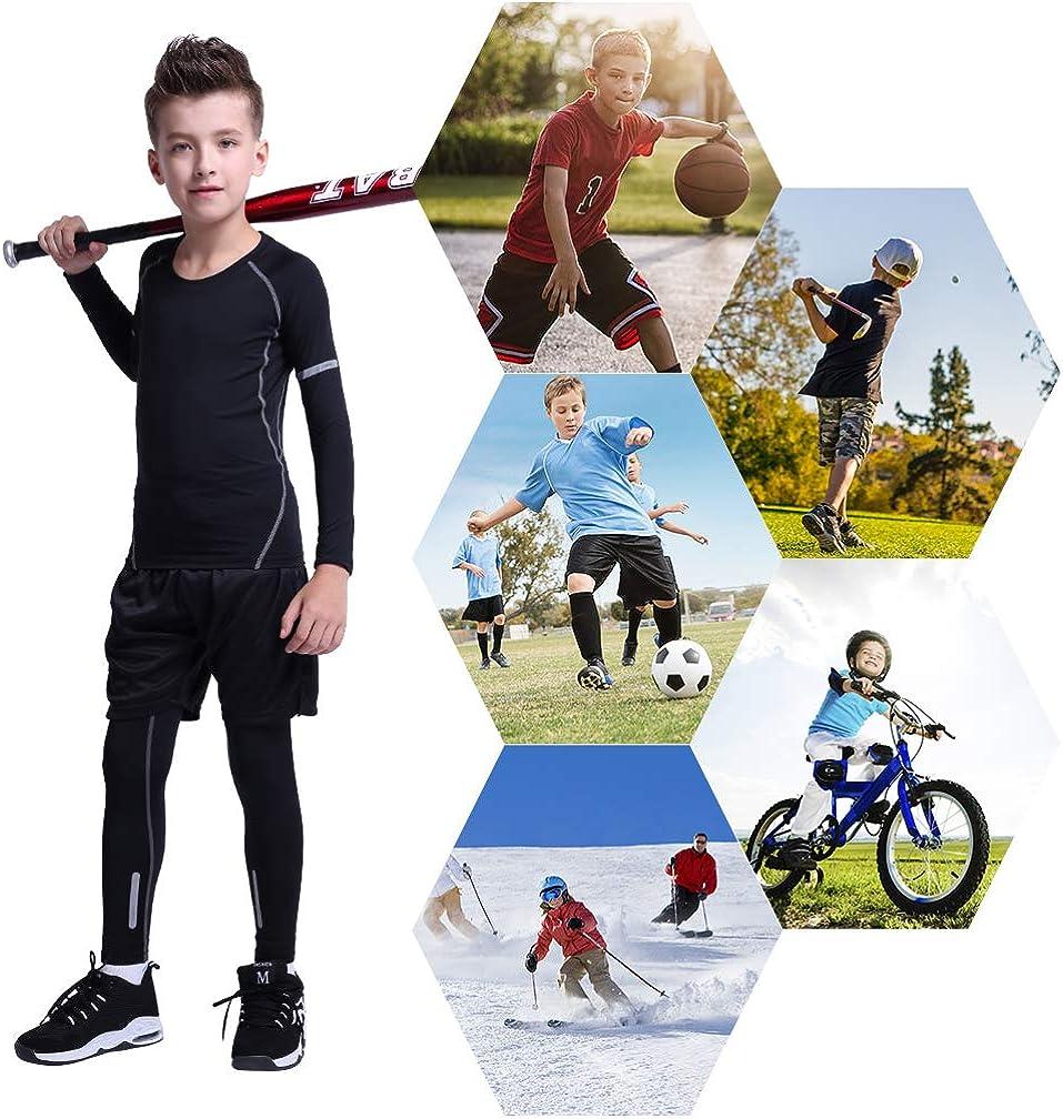 Tesuwel 2//3//4 Pcs Boys Girls Base Layer Athletic Compression Leggings and Shirts Thermal Underwear Set Running Pants Tights