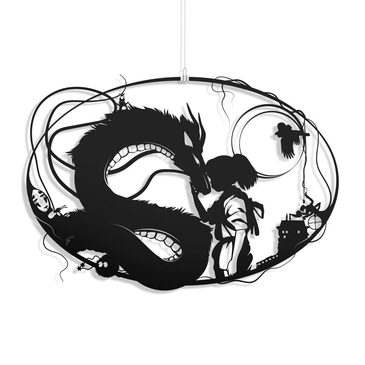 Amazon Com Spirited Away Unframed Studio Ghibli Haku And Chihiro Miyazaki No Face Fantasy Art Papercut Dragon Love Art Anniversary Gift Home Decor Handmade