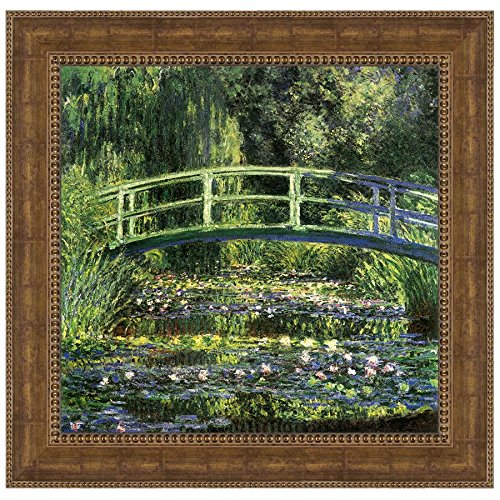Design Toscano Bridge over a Pond of Water Lilies, 1899: Canvas Replica Painting: Large Bridge Over Pond