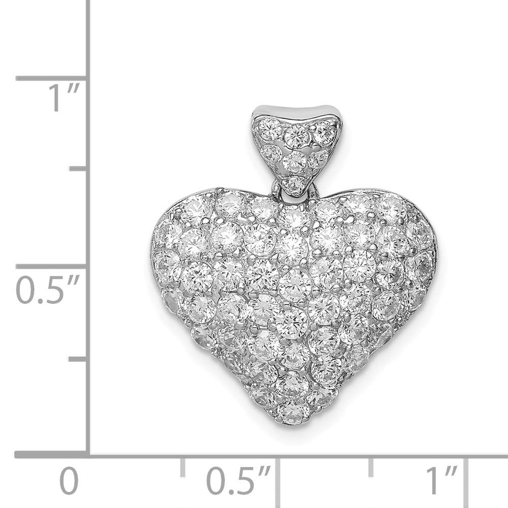 FB Jewels Solid 925 Sterling Silver Cubic Zirconia CZ Puffed Heart Pendant