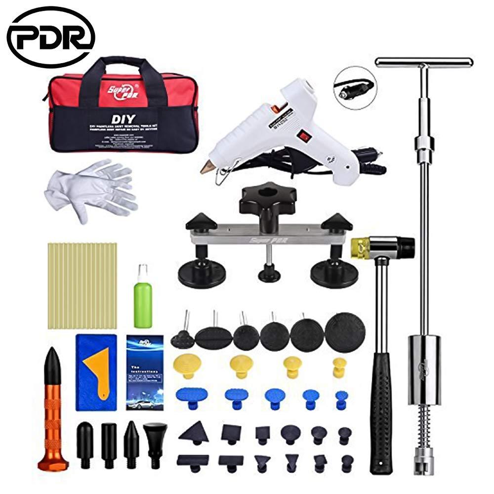 Kit di riparazione per ammaccature, PDR Puller Auto Strumento Riparazione, Pistola per colla a caldo, Bastoncini di colla a caldo(51 PCS)