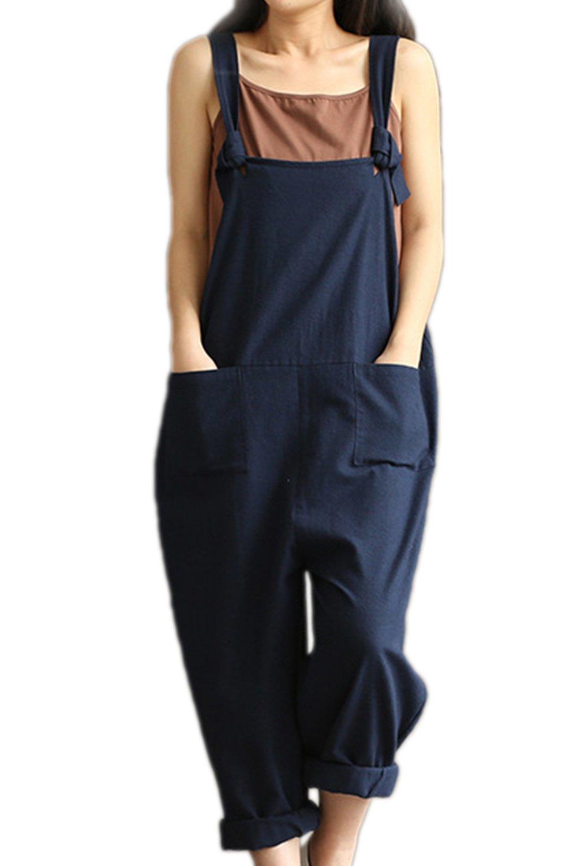 Zojuyozio Womens Casual Sleeveless Loose Jumpsuit Knot Romper Overall Plus Size CAPLMM619