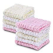 Baby Muslin Washcloths 10 Pack, 12x12 in, 6 Layers Natural Muslin Cotton Baby Wipes, Newborn Baby Face Towel for Sensitive Skin, Baby Registry as Shower Gift Set