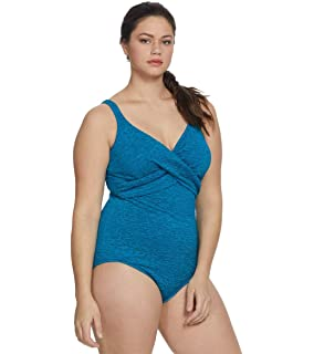 2b2e67457ae74 Penbrooke Women s Plus-Size Krinkle Chlorine-Proof Cross Over Maillot One  Piece Swimsuit
