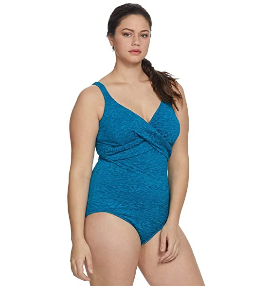 de618c0849ab9 Penbrooke Women's Plus-Size Krinkle Chlorine-Proof Cross Over Maillot One  Piece Swimsuit (