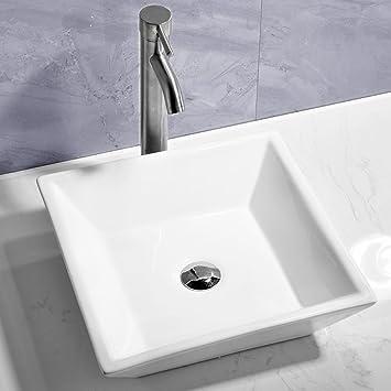 Comllen White Porcelain Ceramic Vessel Bathroom Sink Art Basin