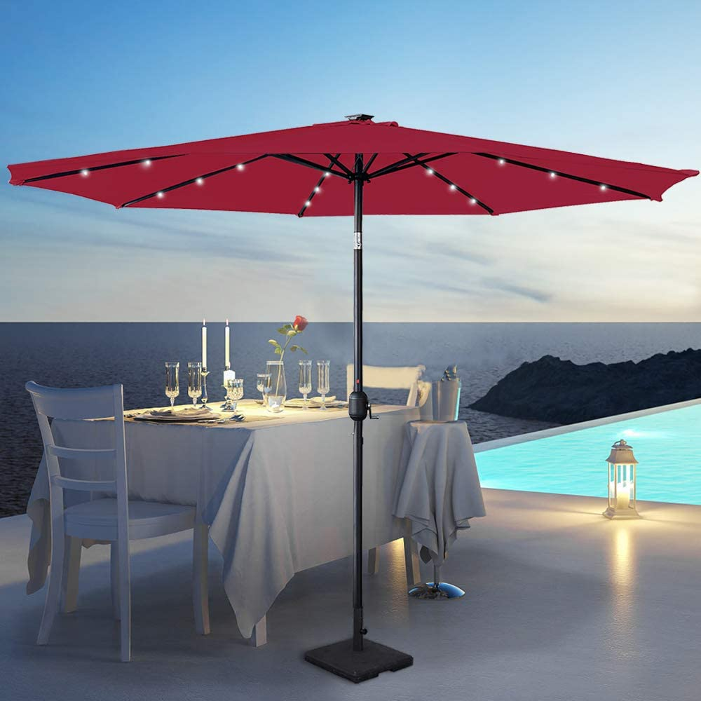 mercato protezione UV 40+ 300 cm Aufun per balcone Ombrellone inclinabile giardino Colore: rosso 3 m terrazza in alluminio con manovella