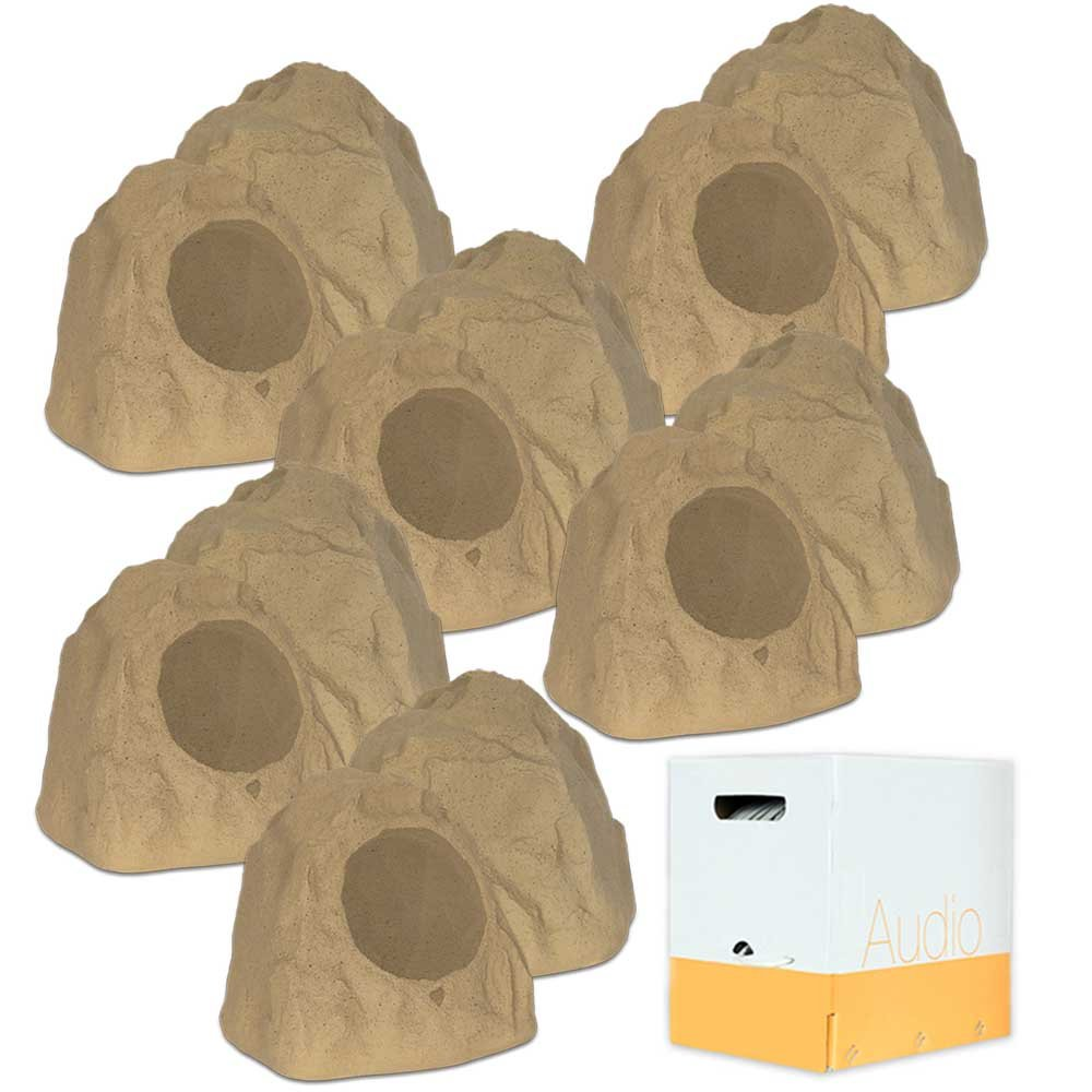 Theater Solutions 12R8S Outdoor Sandstone 8'' Rock 12 Speaker Set with Wire for Yard Pool Spa Patio Garden