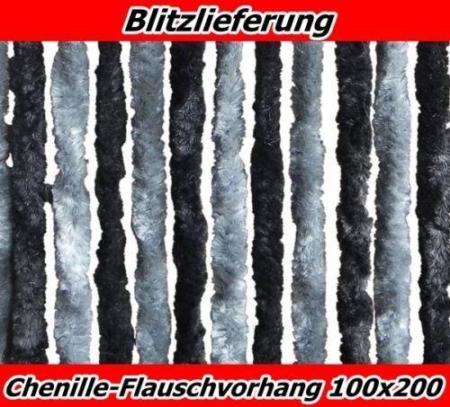 XXL Flauschvorhang Tü rvorhang Fliegenschutz 100x200schwarz-silber aus Chenille 238627
