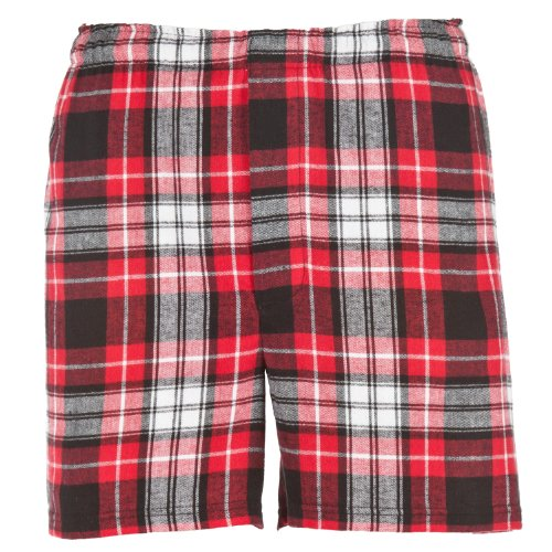 Red, White and Black Plaid Check Classic Cut Flannel Boxer Shorts, Unisex Sizes, Large