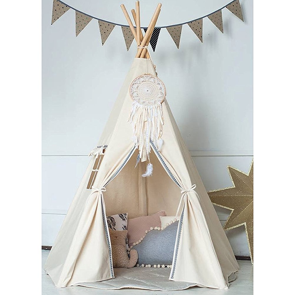 HAN-MM Princess Indian Teepee Tent Children Playhouse Kids Tipi Play Room Wedding Party With Handmade Dream Catcher