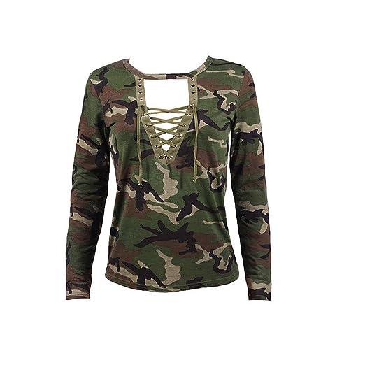 Amazon.com : HOSOME Women Top Fashion Women Long Sleeve Shirt Slim Casual Blouse Camouflage Print Tops : Grocery & Gourmet Food