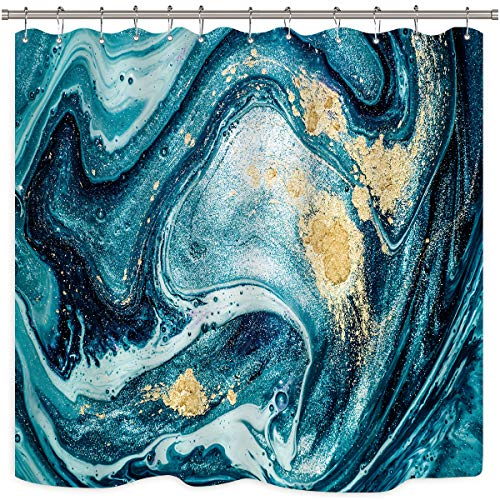 Riyidecor Marble Shower Curtain Abstract Texture Ripples Ocean Blue Swirls Teal Agate Natural Luxury Gold Art Printed Fabric Waterproof Bathroom Decor Set 12 Pack Plastic Hooks 72x72 Inch (Shower And Teal Gold Curtain)