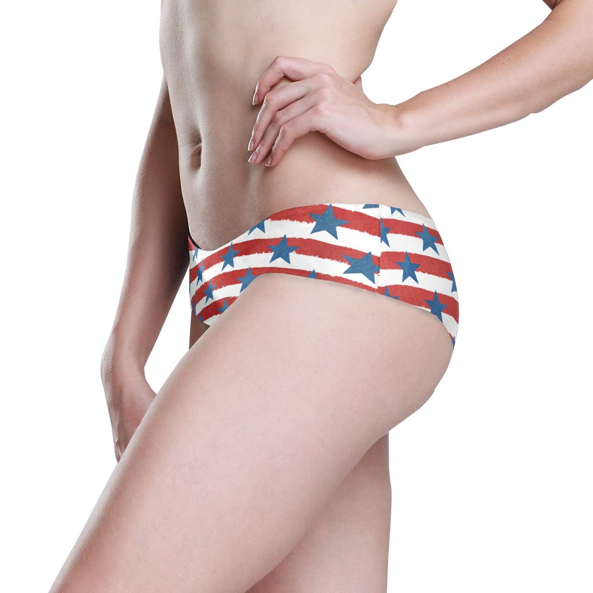KGuanJi Seamless American Flag Star Bikini Underwear Low Rise-2 Pack