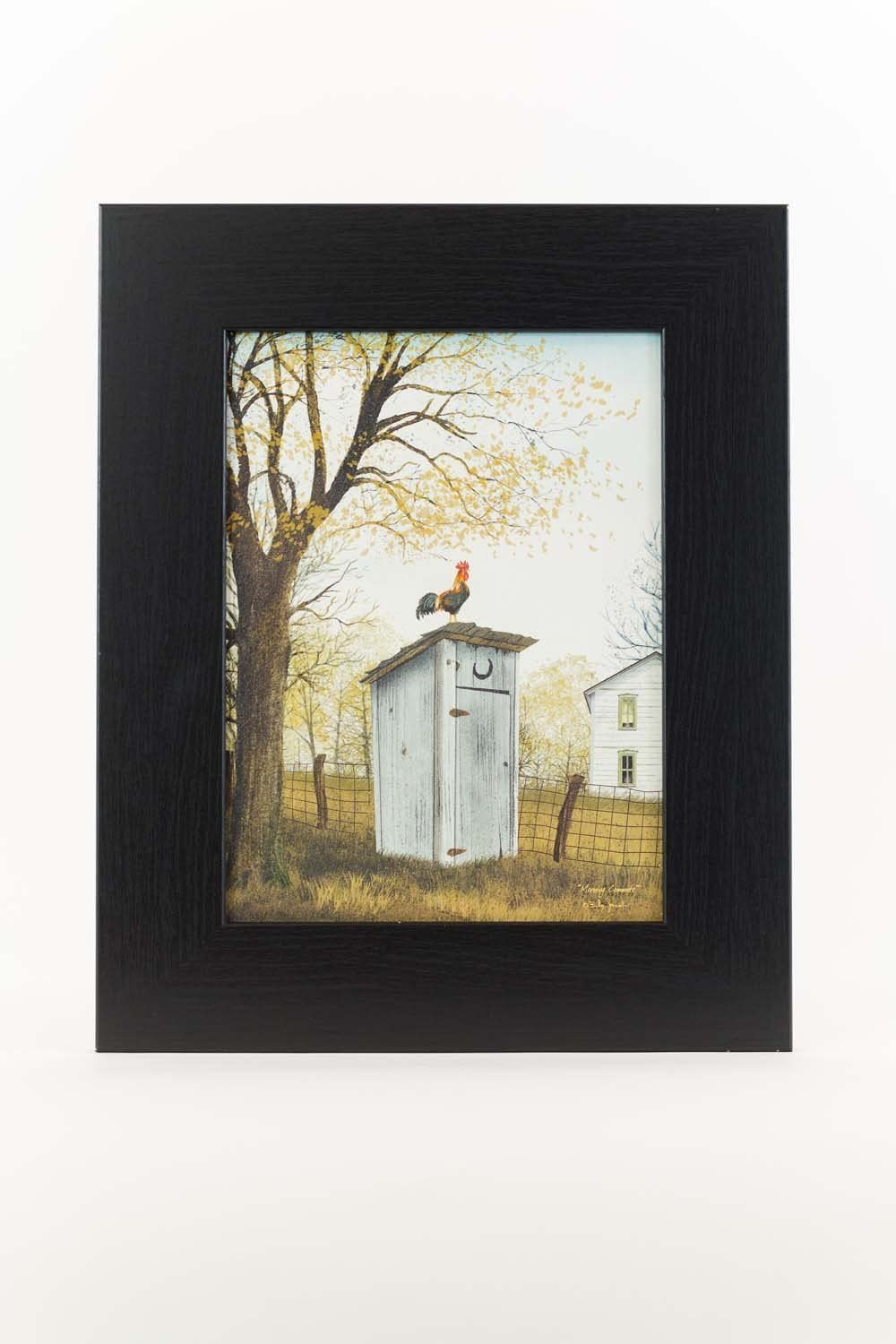 Summer Snow Morning Commute Rooster Outhouse Bathroom Country Billy Jacobs Framed Art Decor 13x16