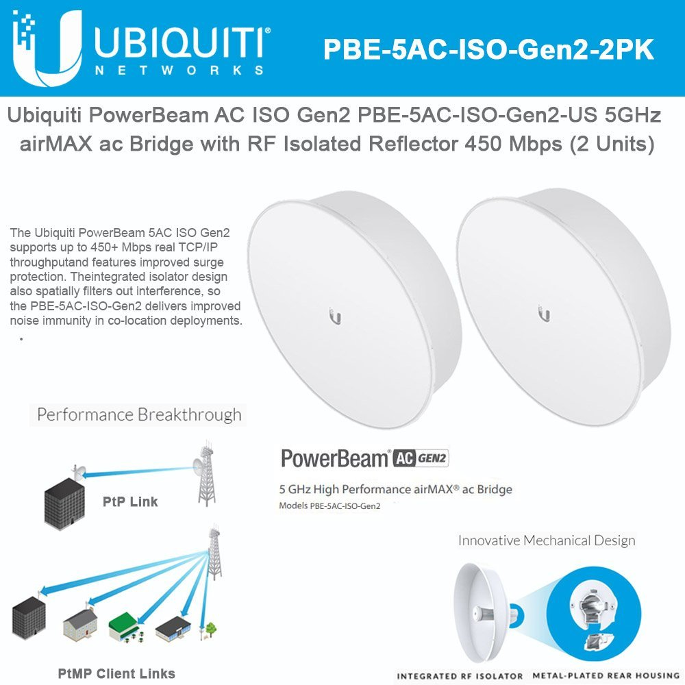PowerBeam AC ISO Gen2 PBE-5AC-ISO-Gen2-US 5GHz airMAX ac Bridge with RF Isolated Reflector 450 Mbps (2 PACK) by Ubiqui Networks