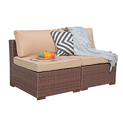 Surprising Patiorama Outdoor Loveseat 2 Piece All Weather Brown Wicker Patio Chairs Beige Velcro Cushion Theyellowbook Wood Chair Design Ideas Theyellowbookinfo