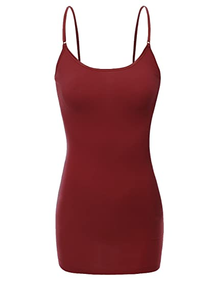 55066de53 RT1008 Ladies Adjustable Spaghetti Strap Built In Bra Shelf Cami Tank Top  Burgundy S