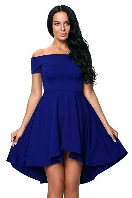 Vestido de manga corta, color azul, para noche, fiesta, uso casual,