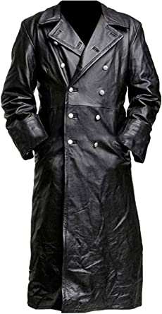 TrendHoop Mens WW2 German Officer Classic Uniform Leather Trench Coat with Double Breasted