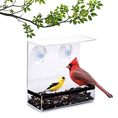 Pafei Clear Glass Window Bird Feeder and Perch-with 3 Super Strong Suction Cups Removable Seed Tray Yard Decora15.2 x 6.7 x 16.5 cm (A): Toys & Games