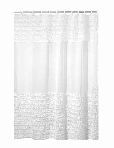 creative bath products ruffles shower curtain 72w x 72h inch