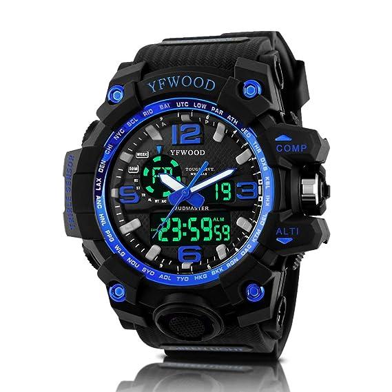 YFWWOOD - Reloj deportivo para hombre, resistente al agua, multifuncional, analógico, militar