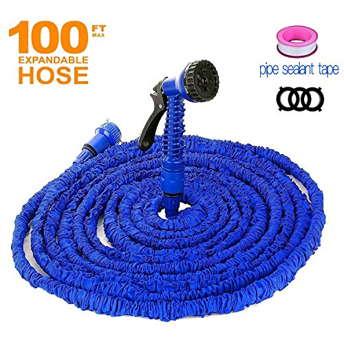 Garden Hose 100 FT Water Hose with Double Latex Core Extra Strength Fabric 7 Function Spray Nozzle Expandable Garden Hose for Garden House Car Pet All Your Watering Needs