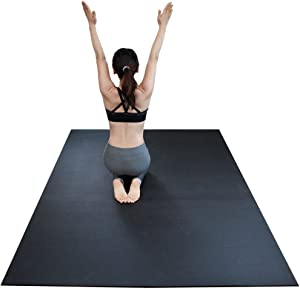 """RevTime Extra Large Exercise Mat 8 x 5 feet (96"""" x 60"""" x 1/4"""") 6 mm Thick & High Density Mat for Home Cardio and Yoga Workouts, Durable Gym Mat, Black"""