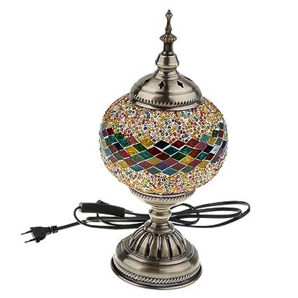 Homyl Lámpara de Mesa Mosaico Turco Hecha Mano de Estilo Marroquí Mesa de Noche - Estilo 2