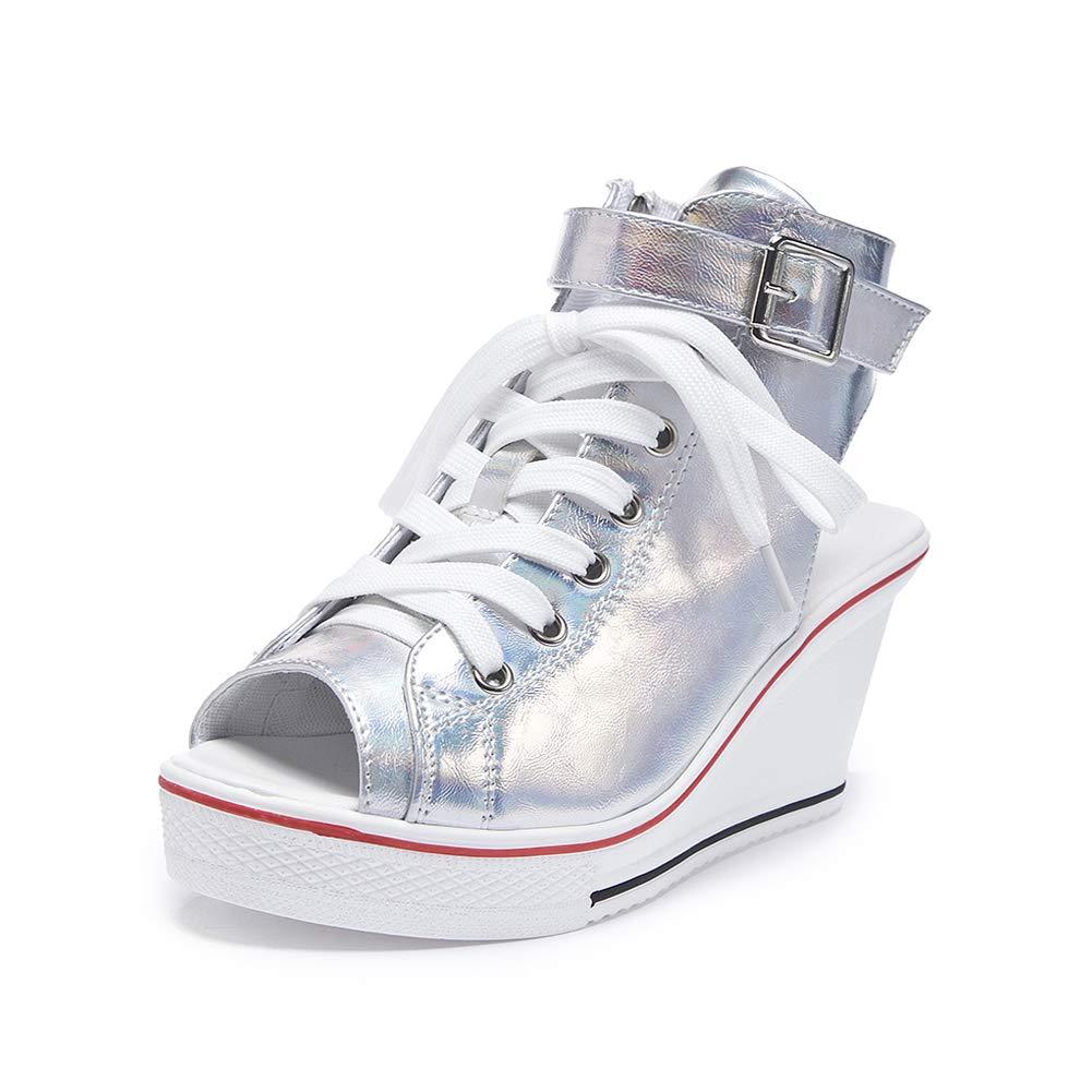 Fluorescence Sokaly Women's Canvas shoes Wedge Heeled Platform Sneaker Fashion Pump shoes