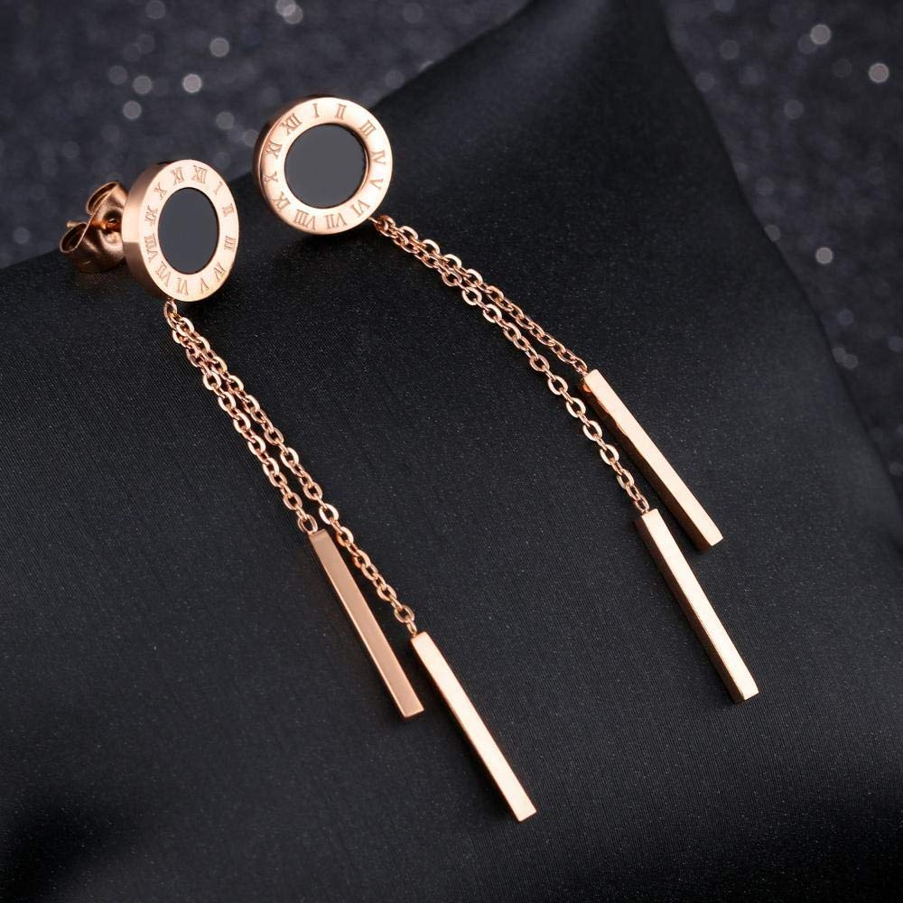 DuDuDu Simple Rose Gold Titanium Steel Black Round Piece Earring