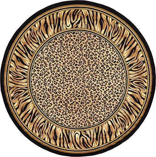 Unique Loom Wildlife Collection Cheetah Border Animal Print Light Brown Round Rug (8' 0 x 8' 0)