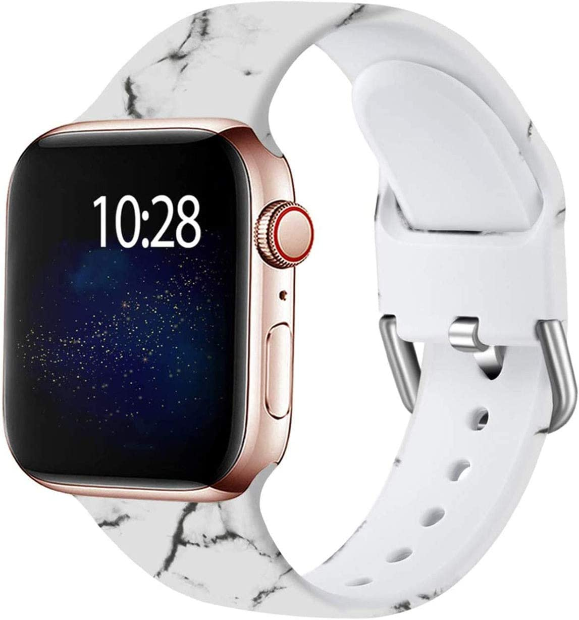 Wepro Compatible with Apple Watch Band 38mm 40mm iWatch SE & Series 6, Series 3, Series 5 4 2 1 for Women, Fadeless Floral Pattern Printed Silicone Wrist Bands Replacement, Marble, S/M
