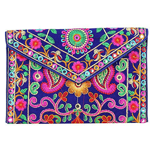 - Women Evening Party Clutch !! Indian Embroidered Patches Work !! Shoulder and Cross body Strap!! Magnetic Closure