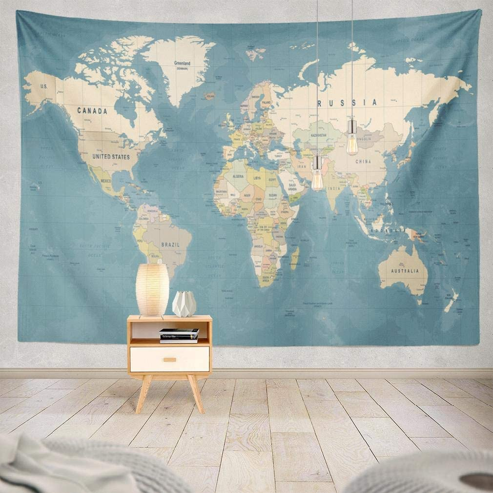Summor Wall Tapestry, Blue Tapestry Wall Hanging Trippy Tapestry World Map High Vintage Country Europe Earth Flat Asia Travel Blue Global for Living Room Wall Decor Bedroom 80X60 Inches